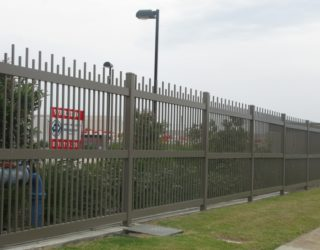 Steel fencing 1.8m high wide mid rail